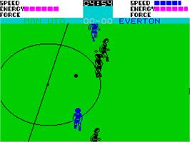 In game image of SuperStar Soccer on the Sinclair ZX Spectrum.