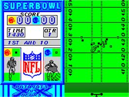 In game image of Super Bowl on the Sinclair ZX Spectrum.