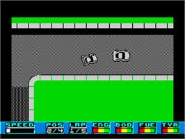 In game image of Super Cars on the Sinclair ZX Spectrum.