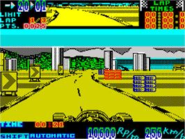 In game image of Super Monaco GP on the Sinclair ZX Spectrum.