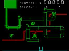 In game image of Super Pipeline II on the Sinclair ZX Spectrum.