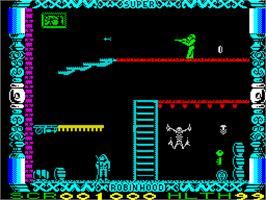 In game image of Super Robin Hood on the Sinclair ZX Spectrum.
