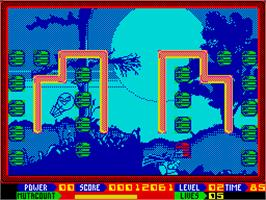 In game image of Super Seymour Saves the Planet on the Sinclair ZX Spectrum.