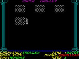 In game image of Super Trolley on the Sinclair ZX Spectrum.