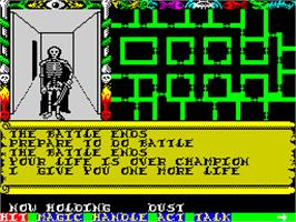 In game image of Swords & Sorcery on the Sinclair ZX Spectrum.