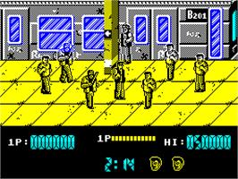 In game image of Target: Renegade on the Sinclair ZX Spectrum.