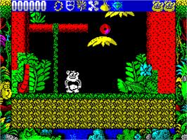 In game image of Tarzan Goes Ape! on the Sinclair ZX Spectrum.