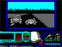 In game image of Techno Cop on the Sinclair ZX Spectrum.