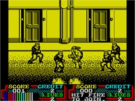 In game image of Teenage Mutant Ninja Turtles II: The Arcade Game on the Sinclair ZX Spectrum.