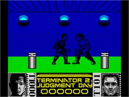 In game image of Terminator 2: Judgment Day on the Sinclair ZX Spectrum.