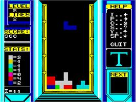 In game image of Tetris on the Sinclair ZX Spectrum.