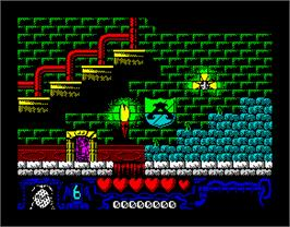 In game image of The Addams Family on the Sinclair ZX Spectrum.