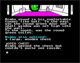 In game image of The Boggit on the Sinclair ZX Spectrum.