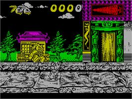 In game image of The Cycles: International Grand Prix Racing on the Sinclair ZX Spectrum.