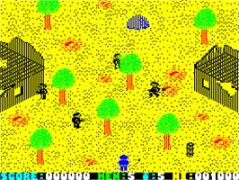 In game image of The Duel: Test Drive II on the Sinclair ZX Spectrum.