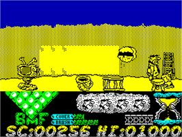 In game image of The Flintstones on the Sinclair ZX Spectrum.