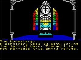 In game image of The Heroes of Karn on the Sinclair ZX Spectrum.