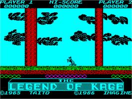 In game image of The Legend of Kage on the Sinclair ZX Spectrum.