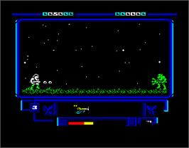 In game image of The Ninja Warriors on the Sinclair ZX Spectrum.