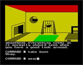 In game image of The Shadows of Mordor on the Sinclair ZX Spectrum.