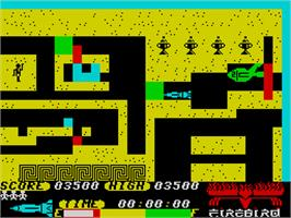 In game image of Thunderbirds on the Sinclair ZX Spectrum.