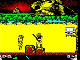 In game image of Thundercats on the Sinclair ZX Spectrum.