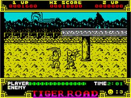 In game image of Tiger Road on the Sinclair ZX Spectrum.