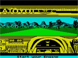 In game image of Toyota Celica GT Rally on the Sinclair ZX Spectrum.