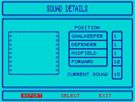In game image of Tracksuit Manager on the Sinclair ZX Spectrum.