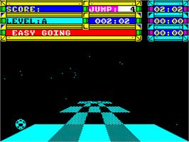 In game image of Trailblazer on the Sinclair ZX Spectrum.