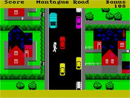 In game image of Trashman on the Sinclair ZX Spectrum.