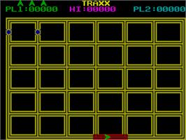 In game image of Traxx on the Sinclair ZX Spectrum.