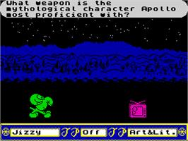 In game image of Trivial Pursuit 2: A New Beginning on the Sinclair ZX Spectrum.