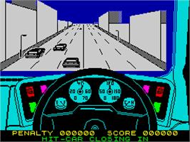 In game image of Turbo Esprit on the Sinclair ZX Spectrum.