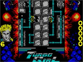 In game image of Turbo Girl on the Sinclair ZX Spectrum.