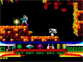 In game image of Turrican on the Sinclair ZX Spectrum.