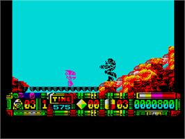In game image of Turrican II: The Final Fight on the Sinclair ZX Spectrum.
