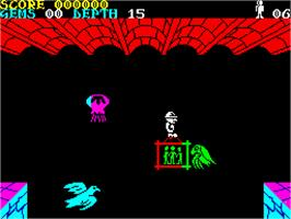 In game image of Underwurlde on the Sinclair ZX Spectrum.