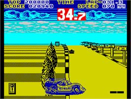 In game image of WEC Le Mans on the Sinclair ZX Spectrum.