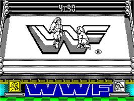 In game image of WWF Wrestlemania on the Sinclair ZX Spectrum.