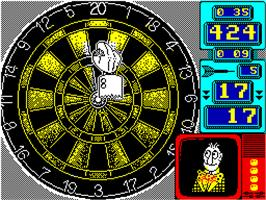 In game image of Wacky Darts on the Sinclair ZX Spectrum.