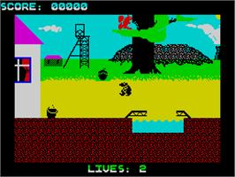 In game image of Wanted: Monty Mole on the Sinclair ZX Spectrum.