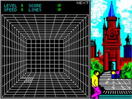In game image of Welltris on the Sinclair ZX Spectrum.