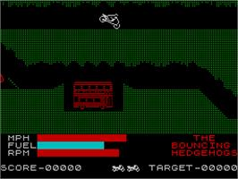 In game image of Wheelie on the Sinclair ZX Spectrum.