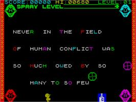 In game image of Who Said That? on the Sinclair ZX Spectrum.