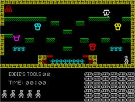 In game image of Witchfiend / Odd Job Eddie on the Sinclair ZX Spectrum.
