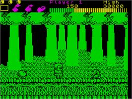 In game image of Wonder Boy on the Sinclair ZX Spectrum.
