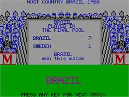 In game image of World Class Soccer on the Sinclair ZX Spectrum.