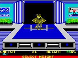 In game image of World Games on the Sinclair ZX Spectrum.