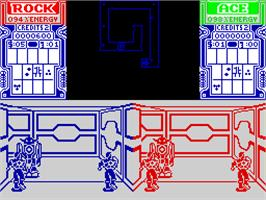 In game image of Xybots on the Sinclair ZX Spectrum.